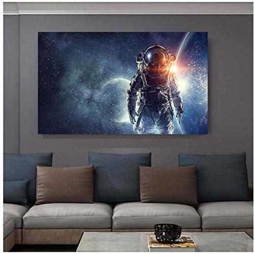 FRTTCYO póster Imágenes de astronautas Carteles e Impresiones del Universo Espacial Ciencia Paisaje Lienzo Pintura Arte de la Pared para la decoración de la Sala de Estar Cuadros -50x70cmx1 sin Marco