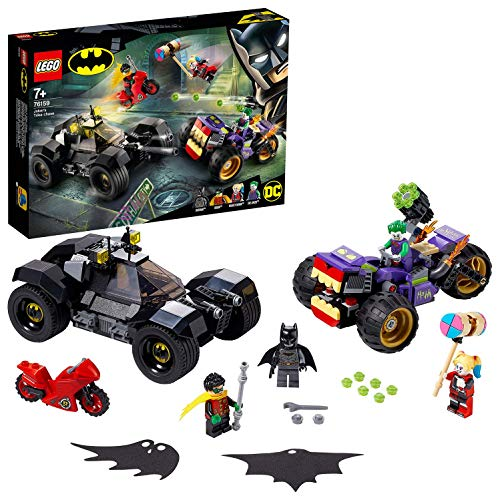 LEGO-La Poursuite du Joker en Moto à 3 Roues DC Comics Super Heroes Jeux de Construction, 76159, Multicolore