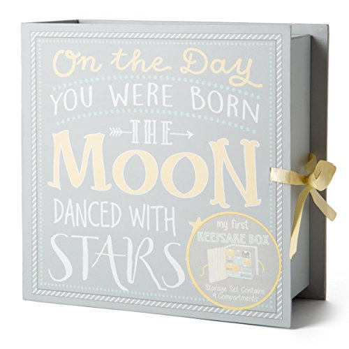 Tri-Coastal Design - Prima Scatola dei Ricordi per Neonato con 9 Cassettini per Contenere i Momenti Speciali e i Tesori del Bambino (Moon And Stars)