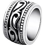 enhong Stainless Steel Rings for Men Vintage Biker Wide Band Ring Size 8