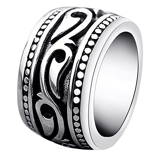 Stainless Steel Rings for Men Vintage Biker Wide Celtic Band Size 15