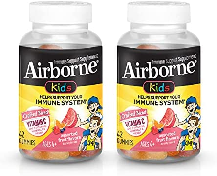 Airborne Kids Assorted Fruit Flavored 500mg 最新 count 42 Gummies 4年保証 -