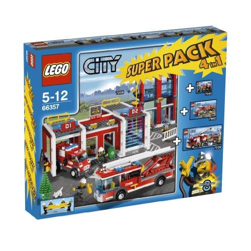 LEGO City 66357 - Feuerwehr 4 in 1 Superpack, bestehend aus Hauptquartier (7208), Löschzug (7239), Auto(7241) und Pick-Up (7942)