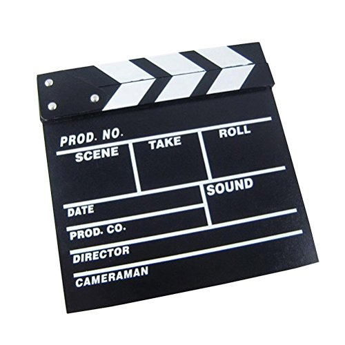 Clapper Board Odowalker Black Clapperboard Clap-Stick Dry Erase Cut Action Scene for Hollywood Camera Film Studio Home Movie Video 7.87x7.87 inch