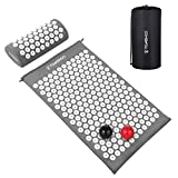 TOMSHOO Acupressure Set, Acupressure Mat and Pillow with 2pcs Massage Balls- Pain Relief Therapy Muscle Back Neck with Travel Bag for Men and Women (Grey White)