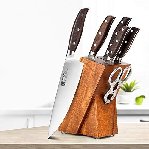 cocina Full Full 7 PCS Cuchillo Set Alemán 1.4116 Cuchillos de cocina de acero inoxidable Conjuntos Mejor Cocina Cortar Herramienta Santoku cuchillos