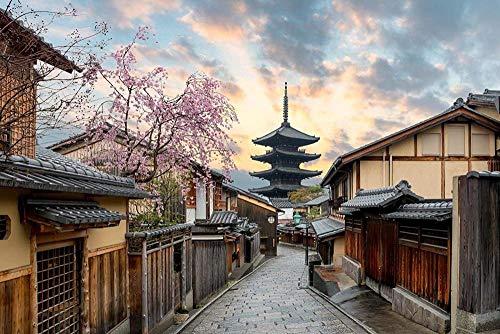 Puzzle de 1000 piezas de rompecabezas de madera Arquitectura japonesa de madera de Kioto Ciudad japonesa de los cerezos en flor Arquitectura asiática Pagoda Calle Juego de diversión Familia Niños Ju