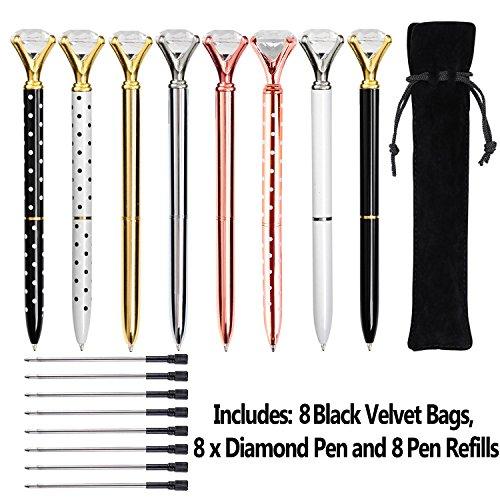 KEKU 8 x große Kristall-/Diamant-Kugelschreiber, Metall-Kugelschreiber, schwarze Tasche und 8 Kugelschreiberminen für Damen, Kollegen, Kinder, Mädchen