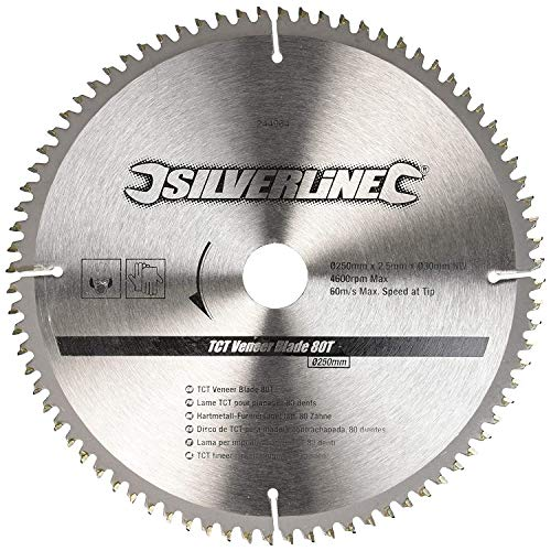 Silverline 244964 Hartmetall-Furniersägeblatt, 80T 250 x 30 - 25, 20, 16 mm Ringe