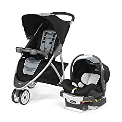 Includes the #1-rated Chicco KeyFit 30 Infant Car Seat Lightweight aluminum frame and sleek 3-wheel design One-hand, free-standing fold Multi-position reclining seat and adjustable canopy Parent and child trays with cup holders, large storage basket