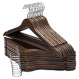 木製ハンガー 滑り止め凹みとズボンバーが付いた衣類ハンガー 型崩れ防止 360度回転薄型洋服ハンガー スーツ・シャツ・ジャケット・コート用 20本組セット 褐色