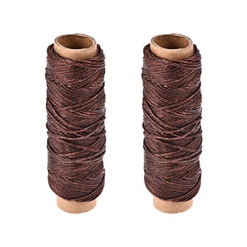 sourcing map - Hilo de coser de cuero, 150 D/1 mm de poliéster, cuerda encerada plana para coser a mano, encuadernación de cuero, manualidades, (café oscuro, 2 unidades)