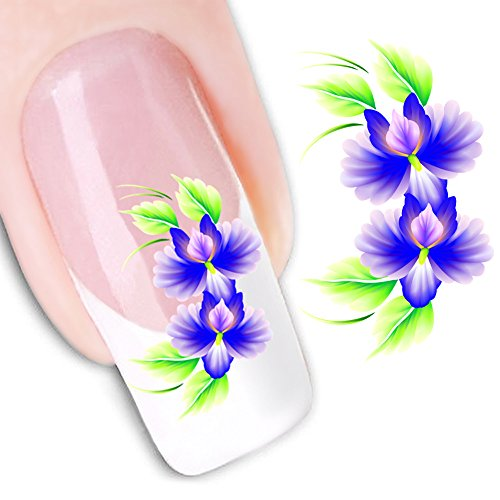 Mode Autocollant Portable Fleur Motif Nail Stickers Nail Art Outil,H
