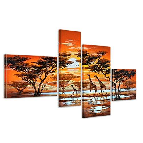 Bilderdepot24 Wandbild - Giraffe Afrika M3 - handgemaltes Leinwandbild 120x70cm 4 teilig 360