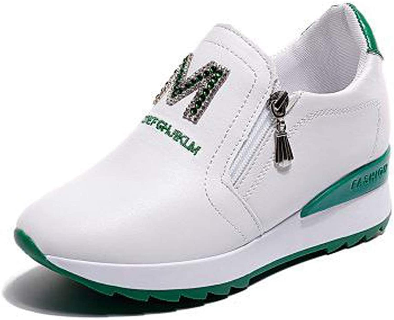 Women Hidden Heel Wedge Height Increasing Ladies Side Zipper shoes Platform Sneakers Casual shoes
