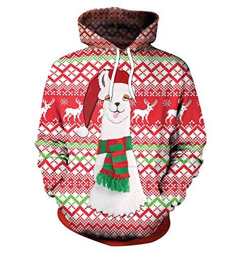Sudaderas Navideñas con Capucha Hombre Sudadera Navidad Estampadas Jersey Mujer Sueter Navideño Reno Sweaters Pullover Largas Chica Oversize Anchas Deporte Larga Invierno Unisex Personalizadas L