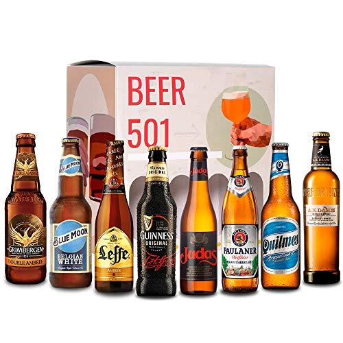 Pack de cervezas degustación BEER 501 - Caja INTERNACIONAL: Grimbergen, Blue Moon, A.K Damm, Quilmes, Judas, Paulaner, Leffe y Guinness I La mejor selección de cervezas para regalar y disfrutar.