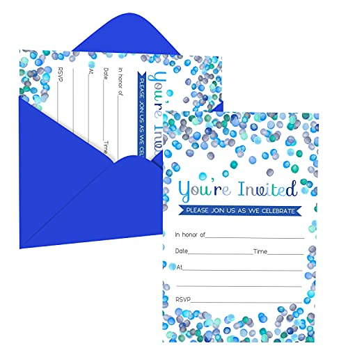 Blue Confetti Party Invitations (15 Guests) Boys Baby Shower - Graduation - Luncheon - Birthday – Housewarming - Fill In Abstract Style - Blank Invite Cards and Envelope Set DIY