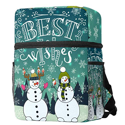 LORVIES Kids Backpack Xmas Best Wishes Snowman Lightweight Preschool Rucksack for Little Boys and Girls with Water Bottle Pockets