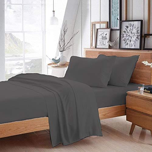 "Krishh Household YRM Hub Dark Grey Hotel Quality 500-TC Egyptian Cotton 4 Piece Bedsheet Set Fitted (84""x84"") 18"" Deep Pocket, Flat Sheet (118""x126"") + Pillow Cases (20""x40""), Wyoming King Size"