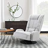 Altrobene Fabric Floor Gaming Chair, Lazy Sofa Sleeper Chair with Arms, High Back, 360 Degree Swivel, 6-Position Adjustable, Soft Padded, Light Grey