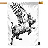 Moslion Pig House Flag Black White Ink Vintage Flying Piggy with Wings to The Sky Garden Flags 28x40 Inch Double-Sided Banner Welcome Yard Flag Home Outdoor Decor. Lawn Villa
