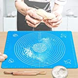 "Pastry Mat for Rolling Dough 20""x16"" Large BPA Free Silicone Pastry Kneading Mat Board with Measurements Food Grade Non-stick Non-slip Rolling Board for Dough"