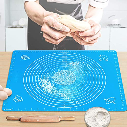 """Pastry Mat for Rolling Dough 20""""x16"""" Large BPA Free Silicone Pastry Kneading Mat Board with Measurements Food Grade Non-stick Non-slip Rolling Board for Dough"""