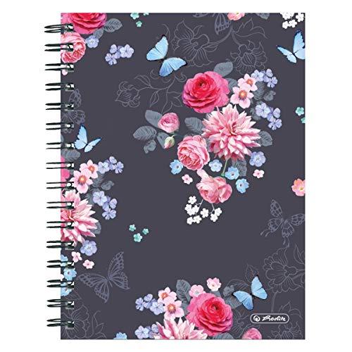 Herlitz 50021413 Spiralboutiquebuch A5 Ladylike Flowers, 100 Blatt kariert, 1 Stück