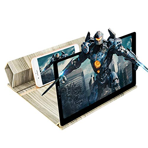 Newseego 12' Phone Screen Amplifier, HD Stereoscopic Phone Screen Magnifier with Phone Stand Solid Wood Grain Foldable Phone Magnifier Screen for Watching Movie Video on All Smartphone-Gray