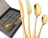 Alik'S Home Colorfull - Cubertería de 24 Piezas (Acero Inoxidable, 6 Tenedores, 6 cucharas soperas, 6 Cuchillos, 6 cucharas de café) en Caja de Regalo magnética, Metal, Dorado, Ménagère 24 pièces