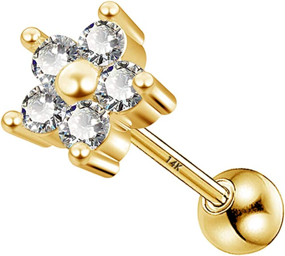 2021 model OFFicial mail order Jewseen 14KT Real Yellow Gold Zirconia Cubic Solitaire Cartilage
