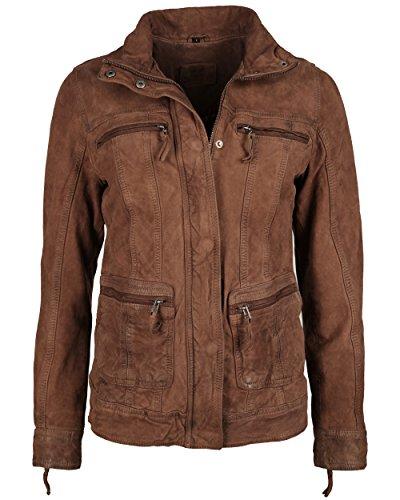 JCC Damen Lederjacke Damen Mit Brusttaschen Und Stehkragen 7081002-2 Cognac XL