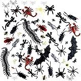 Queta 150 Piezas Plástico Insectos Realistas para Halloween Fiesta y Decoración, Insectos Falsas Cucarachas Arañas Escorpiones Ciempiés Murciélagos Ratas Geckos Moscas para Hacer Bromas