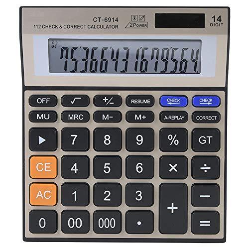 Calculadora de 14 Dígitos Calculadoras Básicas de Escritorio de Función Estándar Calculadora Financiera de Escritorio de Oficina con Energía Solar Dual