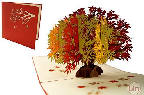LIN17588 - Tarjeta pop up de árbol para cumpleaños, tarjetas de felicitación, tarjetas de felicitación, tarjetas de felicitación, tarjetas de cumpleaños, día de la madre, árbol de arce, N344