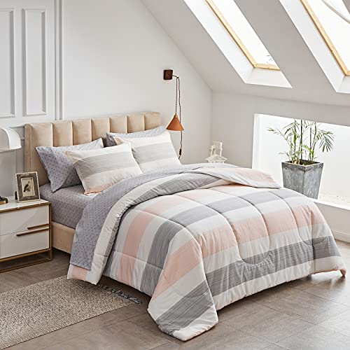 Joyreap 7 Piece Bed in a Bag Cotton, Luxury Bedding Set Queen Size Comforter Set for All Season- Light Pink n Gray Stripes- 1 Comforter, 2 Pillow Shams, 1 Flat Sheet, 1 Fitted Sheet, 2 Pillowcases