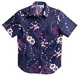 [MAJUN (マジュン)] 国産シャツ かりゆしウェア アロハシャツ 結婚式 レディース シャツ ラウンド裾 モリュシオル ネイビー×ピンク L