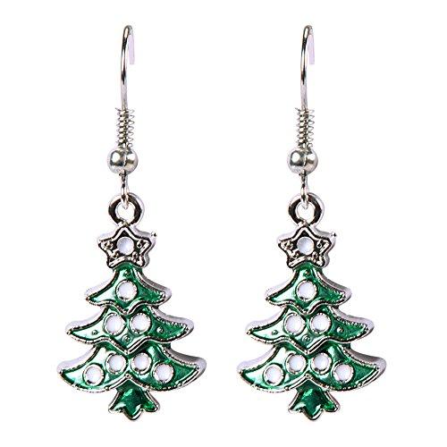 LAEMILIA Ohrhänger Weihnachtsmütze Weihnachtsmann Ohrringe Glitzer Grün Weihnachten Schmuck (Weihnachtsbaum)