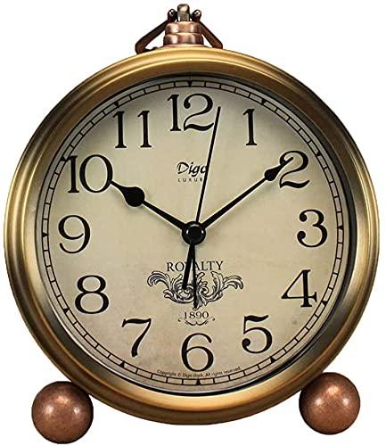 Reloj de mesa dorado de metal, retro, vintage, sin tictac, pequeño despertador,...