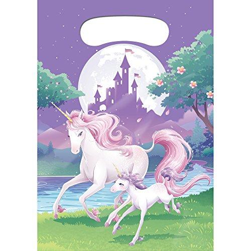 COOLMP – Lote de 12 Bolsas de Regalo de Unicornio mágico 22 x 16 cm – Talla única – Decoración Accesorios de Fiesta, animación, cumpleaños, Boda, Evento, Juguete, Globo