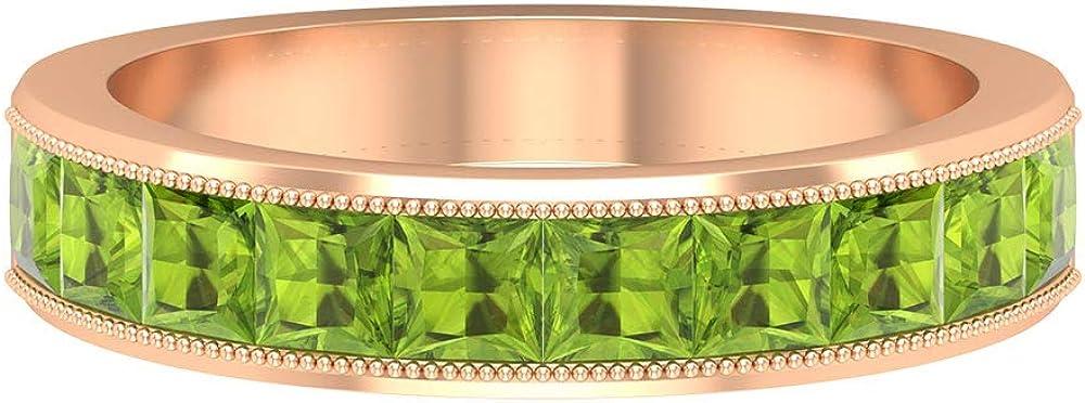 Milgrain Wedding Ring, 1 CT Peridot Eternity Band, Princess Cut Ring, August Birthstone Ring, Bridal Ring, Gemstone Anniversary Ring, Promise Ring, 14K Gold