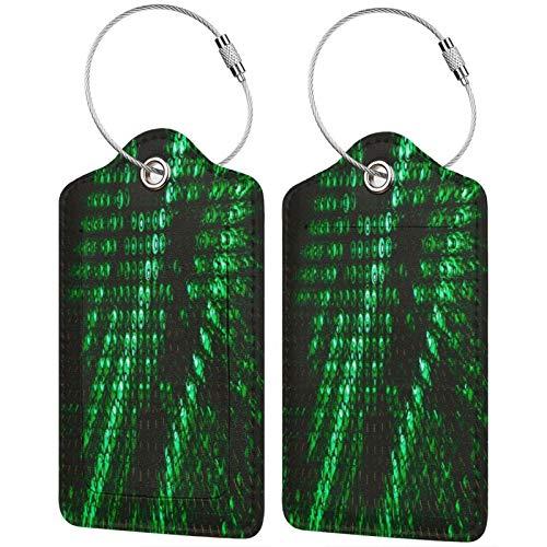 FULIYA Etiquetas de equipaje de viaje, etiquetas de identificación, para tarjetas de visita, juego de 2, botellas, vidrio, textura, verde, luz