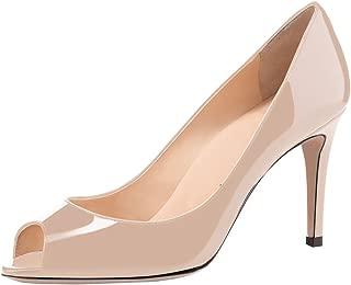 YODEKS Women's Peep Toe High Heels Slip-on Pumps 8CM Comfort Stilettos Patent Leather Heeled Wedding Office Dress Shoes