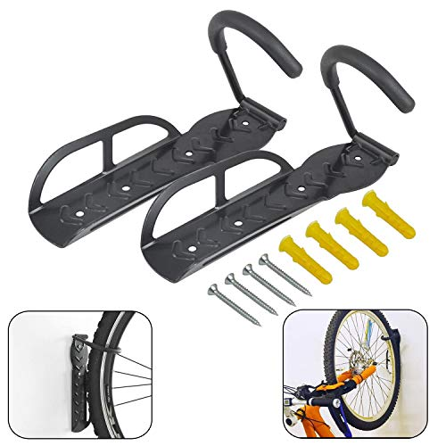 Bicycle Holders 2 Pcs Wall Mounted Bike Rack Stand Hook Space Saving Vertical Hanger Max Load 30 Kg/66 Lb Home Storage Rack Hanger Hook for Indoor Or Outdoor Use