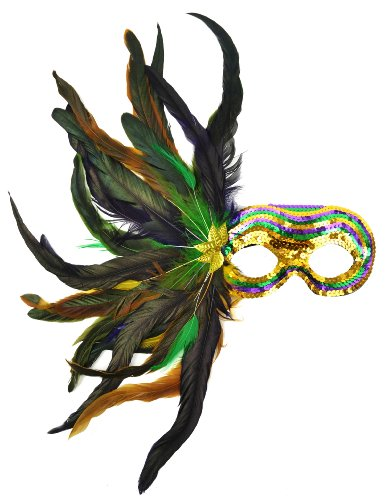 Mask It 48037 Mardi Gras Satin and Sequin Mask