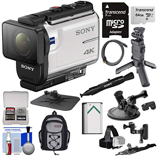 Sony Action Cam FDR-X3000 Wi-Fi GPS 4K HD Video Camera Camcorder with Shooting Grip Tripod + Action Mounts + 64GB Card + Battery + Backpack + Kit