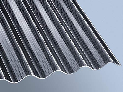 Highlux® Acrylglas-Profilplatte Wellplatte Lichtplatte (Plexiglas®-Rohmasse), 3mm Stark, Sinus 76/18, graphit, Wabe 1045mm x 2000mm
