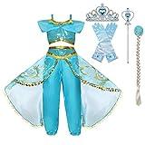 Niña Aladdin Princesa Jasmine Disfraz Tops Pantalones Manga Corta Traje Cosplay Actuación Carnaval Navidad Regalo Cumpleaños Danza Vientre Vestido de Princesa Bastones, Trenzas, Guantes 3-10Años