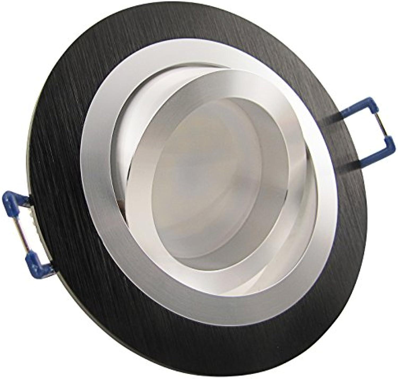 5er Set (3-8er Sets) Einbaustrahler NOBLE S2 Schwarz 230V Deko SMD LED 1,2 Watt (dekorativ) Kalt-Wei Decken Einbauleuchte Aluminium drehbar schwenkbar